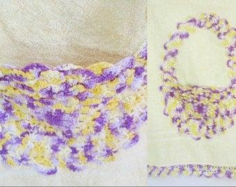 Easter Basket Crochet Towel Yellow Purple Vintage Cannon