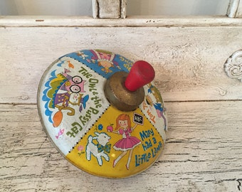 Vintage Toy Tin Top - 1970s Litho J. Chein Top - Vintage Nursery, Play Room Decor - Baby Shower
