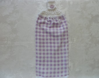 Hanging Double Kitchen Towel  Lavender and White Checked Towel Crochet Top  Hanging Kitchen Towel