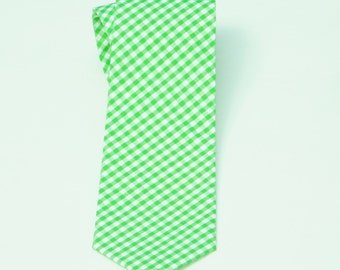 Lime green gingham necktie standard or skinny