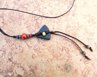 Hippy Necklace Boho Necklace Teen Necklace Leather Necklace Wood Tribal Necklace