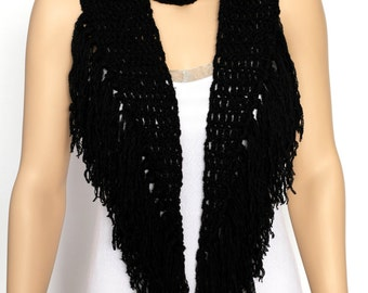 Black Crocheted Fringed Scarf   Long Neck Warmer Scarf