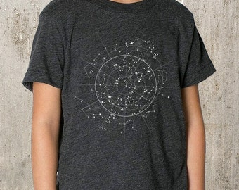 Youth T-Shirt - Celestial Map of the Night Sky - Youth TriBlend T-Shirt