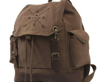 Cotton Canvas Drawstring Backpack - Arrow Compass & Wilderness - Expedition Backpack