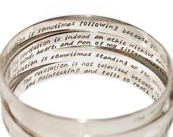 Silver inside message bangle, wide sterling silver bangle, wide personalized bangle, quote bracelet, phrase bracelet, hand stamped bangle