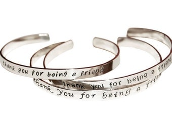 Sterling silver cuff, Personalized bangle bracelet, bridesmaid gift, engravable message jewelry, retirement, custom handmade valentine
