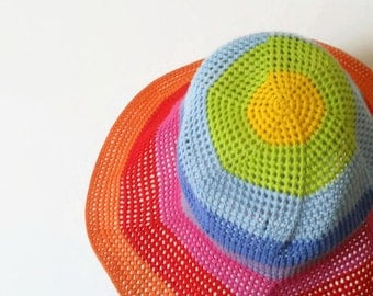 Summer Wide Brim Hat. Crochet Rainbow Colors Cloche. Crochet Women Cotton Hat. Sun Protection Hat for Her by dodofit on Etsy