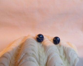 "3/8"" Blue Post Earrings, Earrings, Post, Blue, Round"