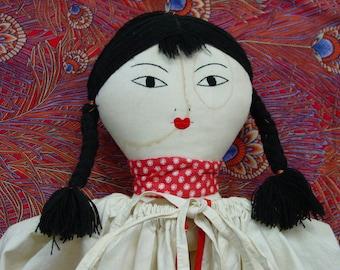 Fabulous Vintage Folk Art Laundry Bag Doll, Rare Asian Look