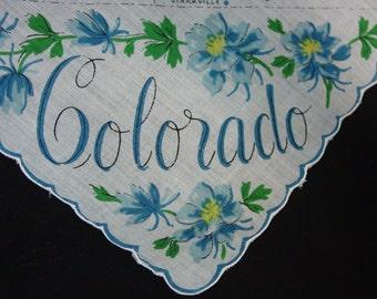 Vintage Souvenir Hanky, Handkerchief Colorado