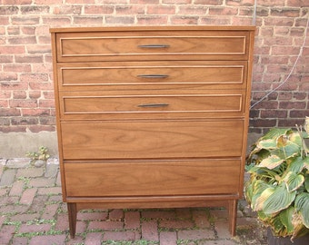 Vintage 1960's Dixie Mid Century Modern dresser drawers, 4 drawers Highboy dresser, Danish Modern style furniture, Retro bedroom decor