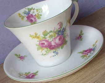 Vintage 1930's Shelley china Regent shape teacup, Art deco tea cup, Pink roses tea cup, Antique teacup, English tea cup set, Bone china tea