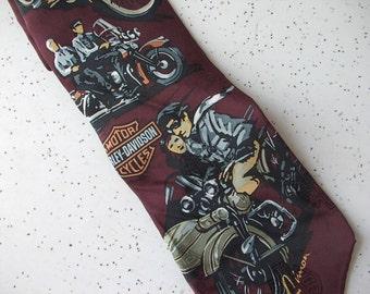 Vintage Ralph Marlin Men's Tie, Vintage Harleys Men's tie, 1996, Harley Davidson men's necktie, Retro Red tie Motorcycles, Father's day gift