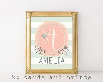Custom Baby Name - Amelia Name Printable - Nursery Monogram - Nursery Art - Nursery Printable