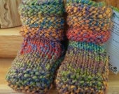 Rainbow Kisses Spun/Knit Sheepskin Soled Booties 0-6 Months