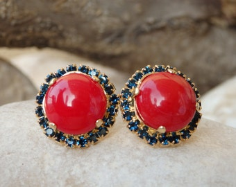 Coral Stud earrings. Red coral post earrings. Round earrings for women Red coral with deep blue swarovski earrings. Rounded coral earrings