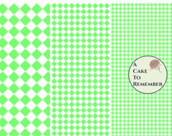 Digital download--Printable light green diamonds wafer paper file for cake decorating or cupcake decorating