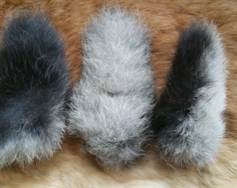 Rabbit Tail - Naturally Dried - Steel