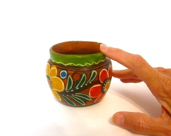 Vintage Mexican ceramic planter hand painted pottery, terracotta folk art pottery