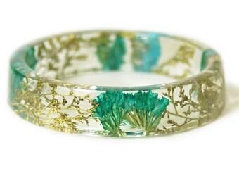 Bracelet - Jewelry with Real Flowers- Dried Flowers- Bracelet - Teal Dried Flowers- Gold Bracelet- Resin Jewelry