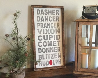 Christmas Sign, Reindeer names, Rudolph 12x24 framed sign