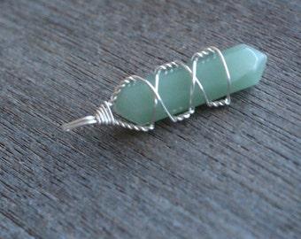 Aventurine Wire Wrapped Pendant #6181