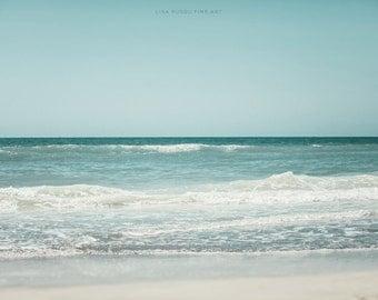 Beach Print or Canvas Wrap, Teal Ocean Turquoise Water, Blue Beach Decor Gift Print, Waves, Shore, Sea, Nautical, Florida, Gulf of Mexico.