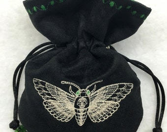 DEATH'S-HEAD MOTH - Mini Faux Suede Machine-Embroidered Pouch for Dice, Runes
