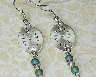 STEAMPUNK Earrings - ELGIN Watch Movement Face Earrings w Blue Green & Silver Beads - Great Colors