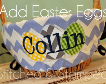 Add Eggs to your Personalized Easter Basket Liner