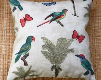 ivory tropical bird outdoor cushion cover
