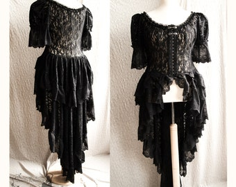 Lace Victorian over dress, black robe, gothic, steampunk, Somnia Romantica, approx size extra large, see item details for measurements