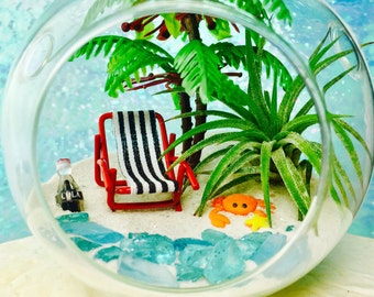 Beach Vacation Terrarium Kit ~ Glass Hanging or Sitting Terrarium Kit with Air Plant ~ Home Decor ~ Beach Chair + Palm Tree ~ Beach Decor