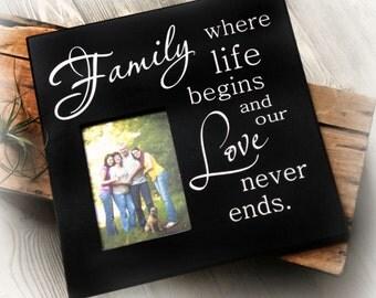 Family Photo Frame/Picture Frame for Family Photo/Wood Picture Frame/Family Frame Where Live Begins/Love Never Ends/Family Frame/Family Gift