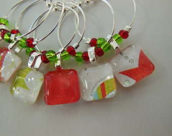 Glass Wine Tags - Red Glass Charms - Green Charms - Set of Six - Glass Wine Charms - Hostess Gift - House Warming Gift - Entertaining
