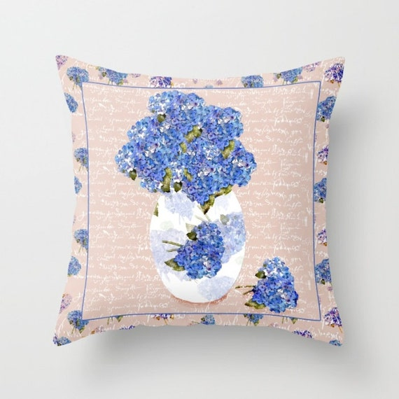 Indoor Decorative Pillow Cover,  Afternoon Bouquet of Hydrangeas