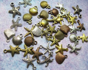 40 Small Starfish and Seashell Charms in Various Colors - C2474