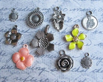 Flower Charm Collection in Silver Tone - C2344