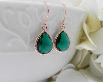 Rose Gold Earrings - Emerald Earrings - Rose Gold Bridesmaid Earrings -  Wedding  Earrings - Bridesmaid Gift - Dangle Earrings - Gift Idea