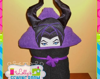 Maleficent hooded towel - can be personalized