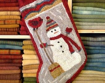 Rug Hooking PATTERN, Snowman and Broom  Stocking, J977, DIY Christmas Stocking, Primitive Rug Design