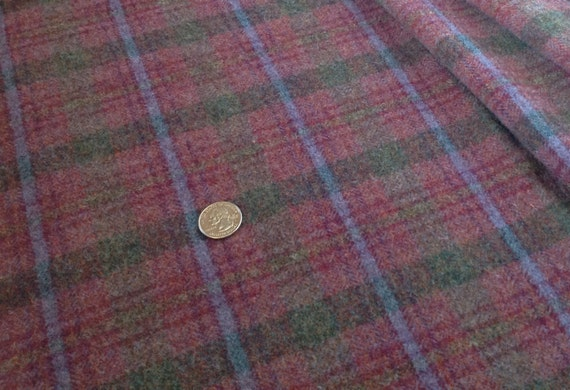 Rosey Purple Plaid,  Wool Fabric for Rug Hooking and Appliqué, One yard, Half Yard, Quarter Yard, W133