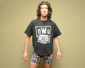 vintage 90s NWO Nitro t-shirt TNT tee shirt NWO Crew wrestling cut off half shirt crop t-shirt Xl extra large 100% cotton WcW