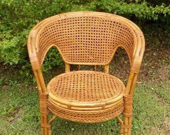 Vintage Rattan Chair with Cane Seat and Back Patio Furniture