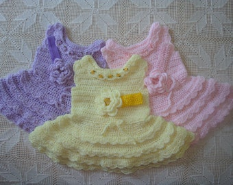 24 M - 2 T Crocheted  Pastel Lavender, Yellow or Pink Ruffled Skirt Dress and Flower Headband