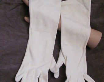 "Beautiful Ivory Ladies Soft Nylon Gloves 14"" Inch Long (04M)"