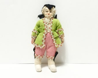 Vintage Continental cloth and felt doll, dressed as 18th century courtier with tricorn hat and 'powdered' wig