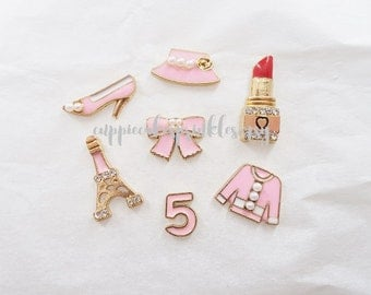 7pcs - Pink Fancy Kitschy Designer Alloy Charm Set Decoden Mix (10-20mm) CH10035