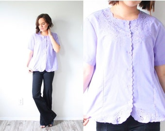 30% OFF out of town SALE Vintage oversized purple lace blouse // button down boxy blouse // loose slouchy fit blouse // Boho blouse top purp