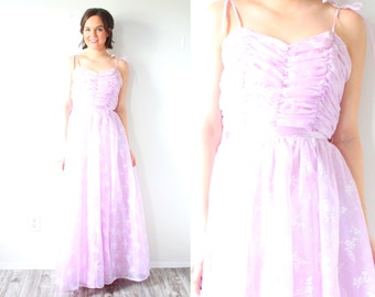 Vintage XS purple 50's prom dress // maxi length dress // purple floral dress // tulle ball gown // rock ability dress / ruffle 1960's dress